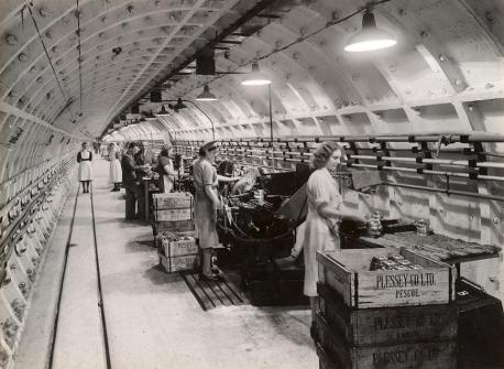 """The Plessey war time factory in the Central Line tunnels."" This is Local London. Web."