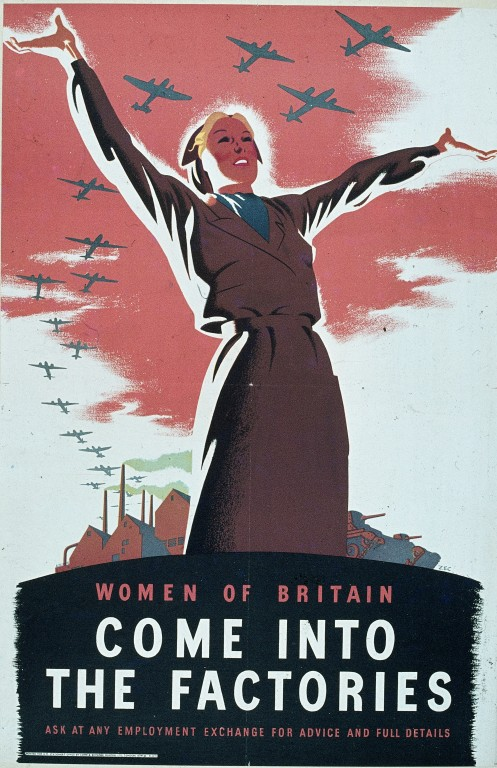 "Fig. 4. Zec, ""Women of Britain Come into the Factories,"" 1941. Victoria & Albert Museum. Web."
