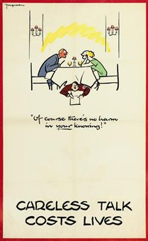 "Fougasse (Cyril Kenneth Bird), ""Carless Talk Costs Lives."" Christie's. Web. http://www.christies.com/lotfinder/posters-signage-advertising/fougasse-careless-talk-costs-lives-5366294-details.aspx"