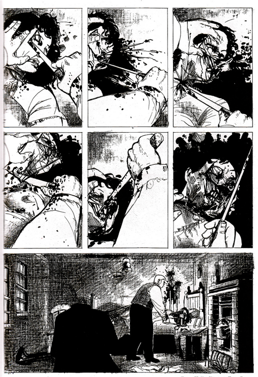 """The death of Mary Kelly."" Illus. in Alan Moore and Eddie Campbell, ""From Hell"" (Marietta, GA: Top Shelf Productions, 2004)"
